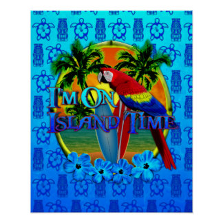 Island Time Sunset And Tikis Poster