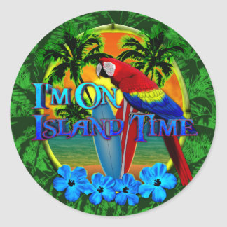 Island Time Sunset Classic Round Sticker