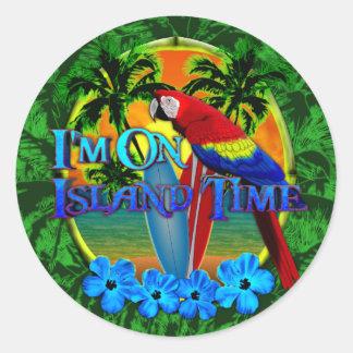 Island Time Sunset Classic Round Sticker