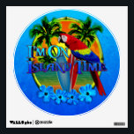 """Island Time Sunset Wall Decal<br><div class=""""desc"""">I&#39;m On Island Time artwork and designs. Island time is a reference to how life is on islands, people are more apt to slow down and enjoy life. Rather than the normal rat race we live in on the main land. Beautiful beach sunset behind surfboards and palm trees, framed with...</div>"""