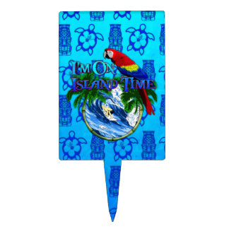 Island Time Surfing Blue Tiki Mask Cake Toppers