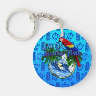 Island Time Surfing Blue Tiki Mask Acrylic Keychain
