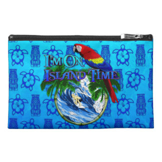 Island Time Surfing Blue Tiki Mask Travel Accessory Bag