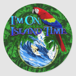 Island Time Surfing Palm Trees Classic Round Sticker