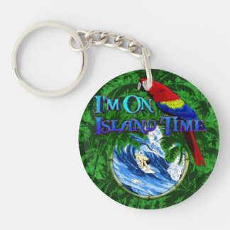 Island Time Surfing Palm Trees Keychain