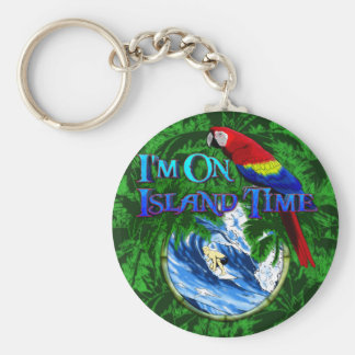 Island Time Surfing Palm Trees Key Chain
