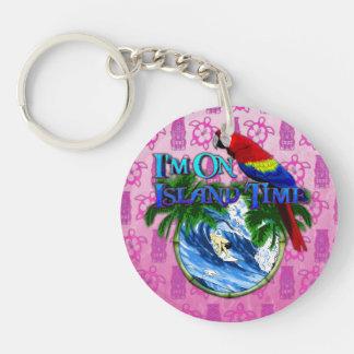Island Time Surfing Pink Tiki Acrylic Key Chains