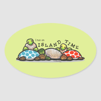 Island Time Turtles Oval Sticker