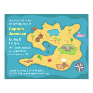 Island Treasure Map, Pirate Birthday Party 4.25x5.5 Paper Invitation Card