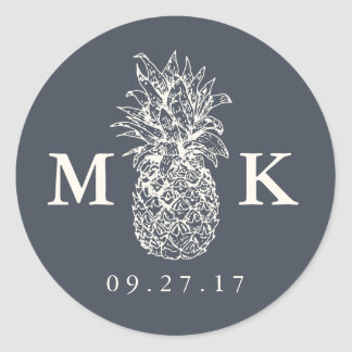 Island Vintage Pineapple Monogram Wedding Classic Round Sticker