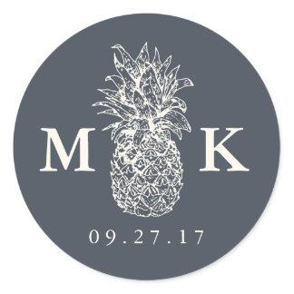 Island Vintage Pineapple Monogram Wedding Classic Round Sticker