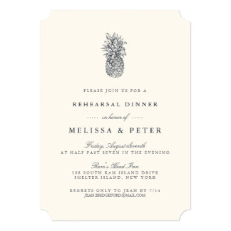 Island Vintage Pineapple Rehearsal Dinner Card