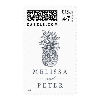 Island Vintage Pineapple Wedding Postage