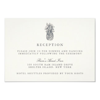 Island Vintage Pineapple Wedding Reception Card