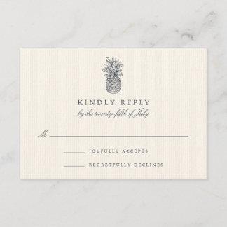 Island Vintage Pineapple Wedding RSVP Card