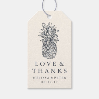 Island Vintage Pineapple Wedding Thank You Favor Gift Tags