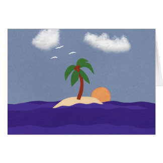 Island with Palm Tree, Sunset and Seagulls Card