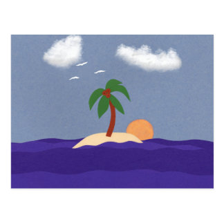 Island with Palm Tree, Sunset and Seagulls Postcard