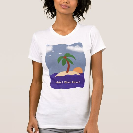 Island with Palm Tree, Sunset and Seagulls T-Shirt
