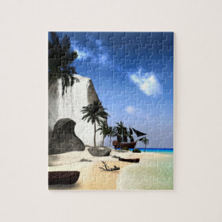 Island with rock and waterfall jigsaw puzzle