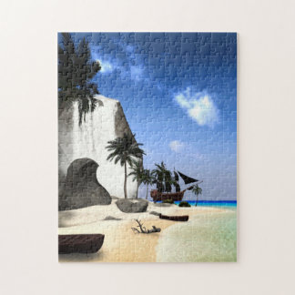 Island with rock and waterfall jigsaw puzzles