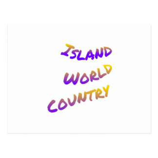 Island world country, colorful text art postcard