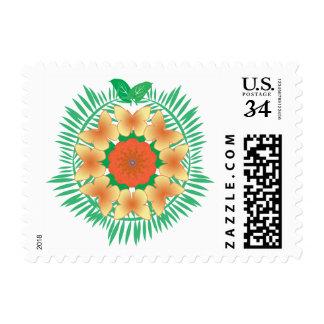 Island Wreath orange yellow postage