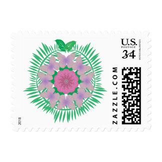 Island Wreath pink purple postage