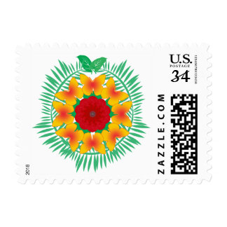Island Wreath red yellow postage