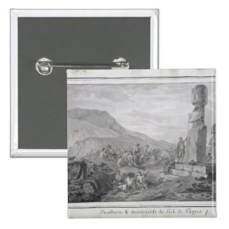 Islanders & Monuments of Easter Island, 1786 Pinback Button