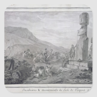Islanders & Monuments of Easter Island, 1786 Square Sticker