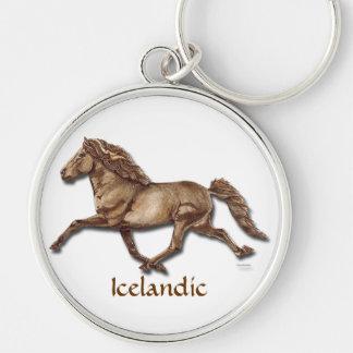 Islandés de bronce llavero redondo plateado