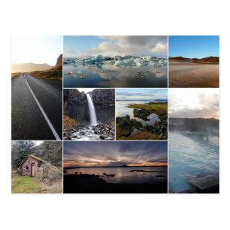 Islandia ajardina el collage tarjeta postal
