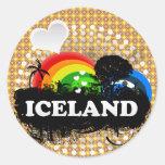 Islandia con sabor a fruta linda pegatina redonda