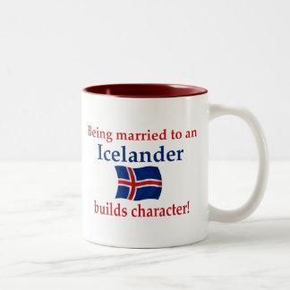 Islandia construye el carácter taza de dos tonos