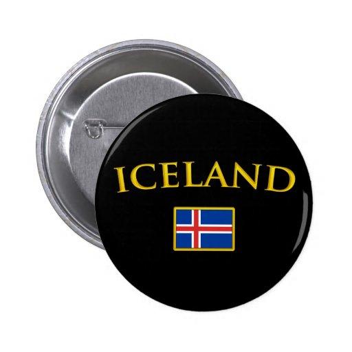 Islandia de oro pin redondo de 2 pulgadas