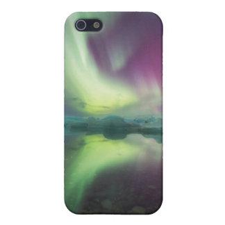 Islandia, Jokulsarlon. Las luces de la aurora iPhone 5 Carcasas