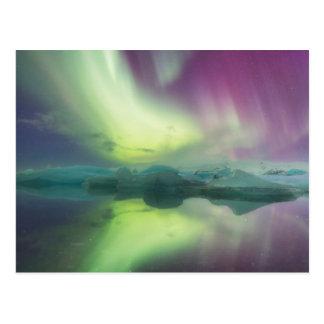 Islandia, Jokulsarlon. Las luces de la aurora Postales