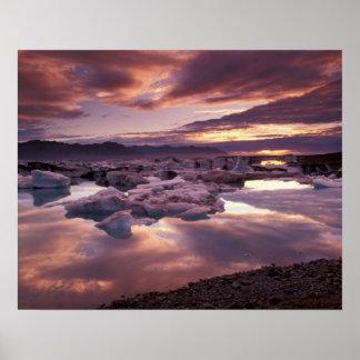 Islandia, laguna de Jokulsarlon, paisaje Póster