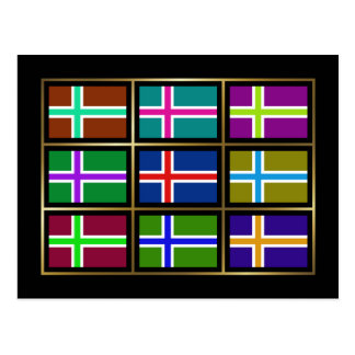 Islandia Multihue señala la postal por medio de un