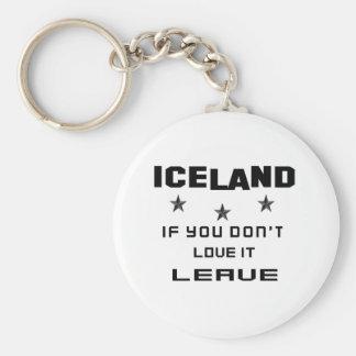 Islandia si usted no la ama, se va llavero redondo tipo pin