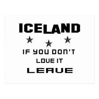 Islandia si usted no la ama, se va tarjetas postales