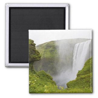 Islandia. Zambullidas de la cascada de Skogarfoss  Imán Cuadrado