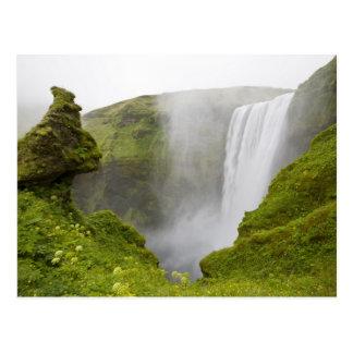 Islandia. Zambullidas de la cascada de Skogarfoss Tarjeta Postal