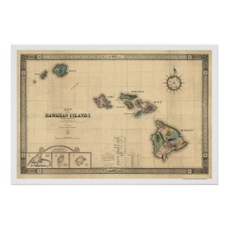 Islands of Hawaii Giles Map - 1876 Poster