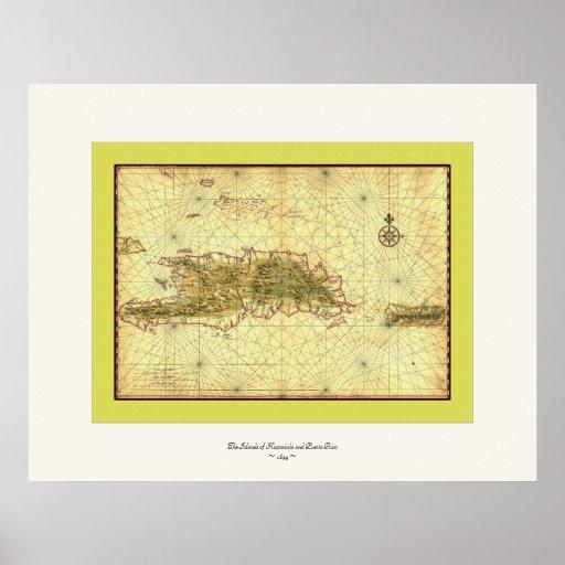 Islands of Hispaniola and Puerto Rico ~ 1639 Print