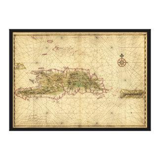 Islands of Hispaniola and Puerto Rico Map (1639) Canvas Print