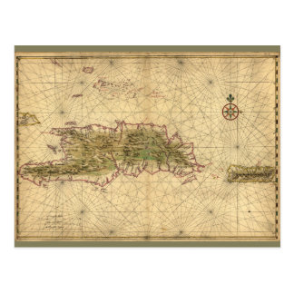 Islands of Hispaniola and Puerto Rico Map (1639) Postcard