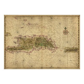 Islands of Hispaniola and Puerto Rico Map (1639) Poster