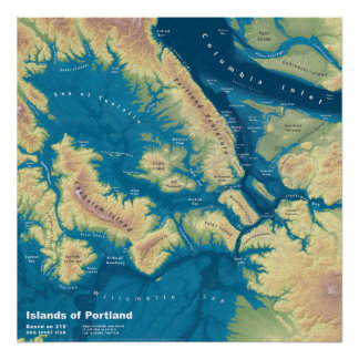 "Islands of Portland--Extreme Sea Rise Map 24""x24"" Poster"